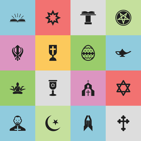 Set Of 16 Editable Religion Icons. Includes Symbols Such As Ornamented Egg, Orator Tribune, Church And More. Can Be Used For Web, Mobile, UI And Infographic Design.