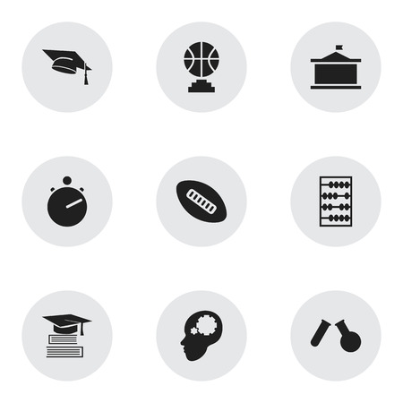 phial: Set Of 9 Editable Teach Icons. Includes Symbols Such As Championship, Study Accomplishment, Phial And More. Can Be Used For Web, Mobile, UI And Infographic Design. Illustration