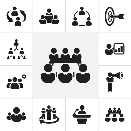 Set Of 12 Editable Business Icons. Includes Symbols Such As Team, Talking Man, Commander