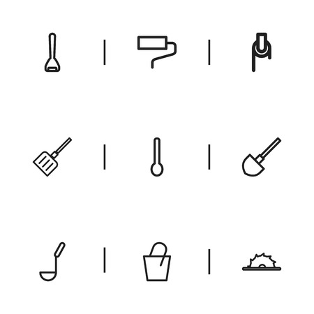 Set of 9 editable apparatus outline icons: includes symbols such as soup ladle, winch, snow trowel, and more Illustration
