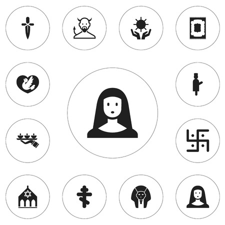 sanctified: Set of 12 editable Dyne Icons: includes symbols such as dove, begging, Muslim Carpet, and more