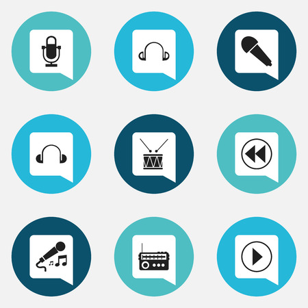 wireless: Set Of 9 Editable Music Icons. Includes Symbols Such As Start Audio, Karaoke, Phonogram And More