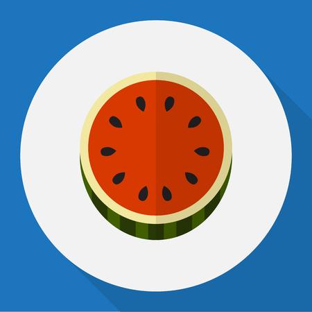 Vektor-Illustration von Berry Symbol auf Wassermelone flache Icon Standard-Bild - 82767943