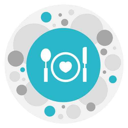 Vector Illustration Of Heart Symbol On Plate Icon. Premium Quality Isolated Cutlery Element In Trendy Flat Style.
