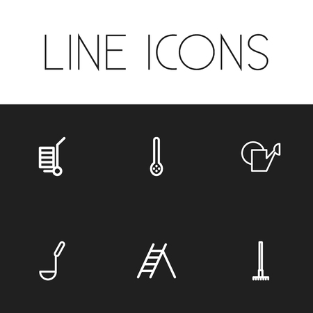 Set Of 6 Editable Instrument Outline Icons. Includes Symbols Such As Soup Ladle, Carriage, Watering Can And More Illustration