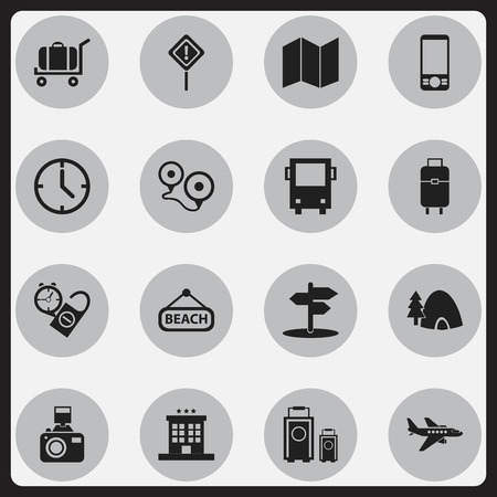 Set Of 16 Editable Travel Icons. Includes Symbols Such As Tabernacle, Plage, Luxury Inn And More Illustration