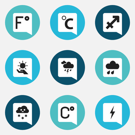 streak lightning: Set Of 9 Editable Air Icons. Includes Symbols Such As Thunder, Deluge, Celcius Degree And More Illustration