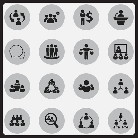 Set Of 16 Editable Business Icons. Includes Symbols Such As Publicity, Teamwork, Friendship And More