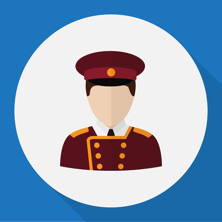 Vector Illustration Of Job Symbol On Porter Flat Icon. Premium Quality Isolated Doorman Element In Trendy Flat Style.