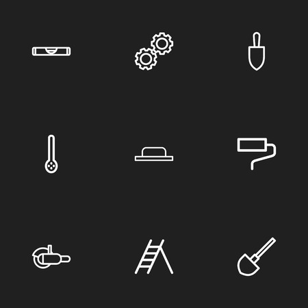Set Of 9 Editable Tools Outline Icons. Includes Symbols Such As Grinder, Spade, Float And More. Can Be Used For Web, Mobile, UI And Infographic Design.