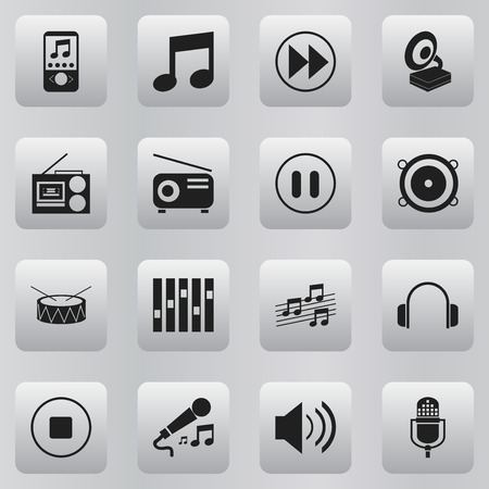 Set Of 16 Editable Melody Icons. Includes Symbols Such As Sound, Break Music, Microphone And More. Can Be Used For Web, Mobile, UI And Infographic Design.