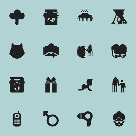 Set Of 16 Editable Folks Icons. Includes Symbols Such As Family, Grandma, Grandchild. Can Be Used For Web, Mobile, UI And Infographic Design. Ilustração