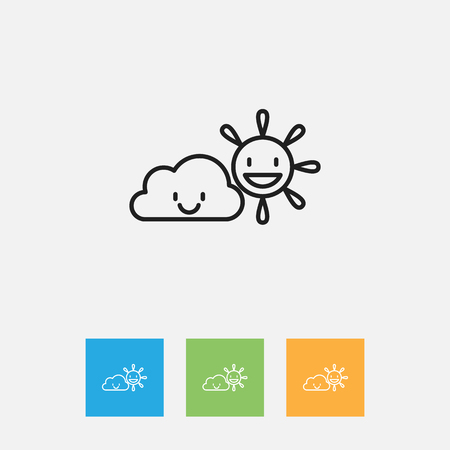 Vector Illustration Of Weather Symbol On Clear Air Outline. Premium Quality Isolated Sunny Weather Element In Trendy Flat Style. Illustration