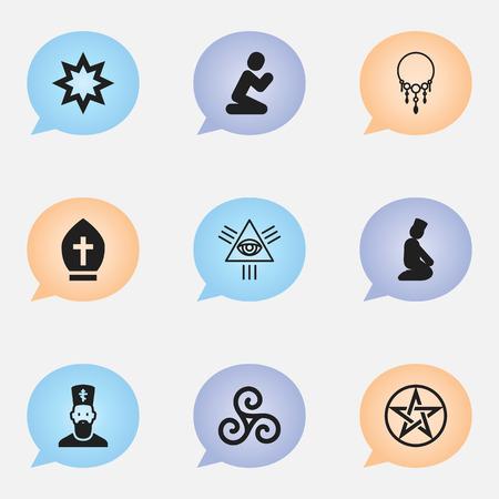 Set Of 9 Editable Faith Icons. Includes Symbols Such As Mandala, Masonic, Asterisk