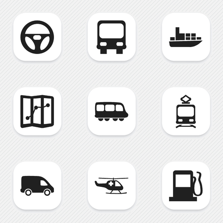 tramcar: Set Of 9 Editable Transportation Icons. Includes Symbols Such As Motorbus, Ship, Tramcar And More Illustration