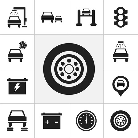shiny car: Set Of 12 Editable Transport Icons. Includes Symbols Such As Transport Clean, Odometer, Stoplight And More