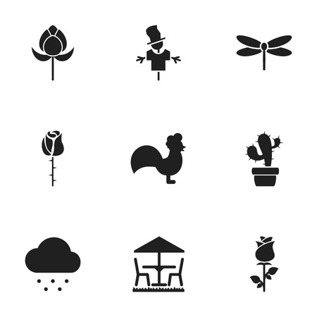 Set Of 9 Editable Gardening Icons. Includes Symbols Such As Rooster, Rainy Cloud, Insects And More