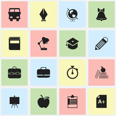petiole: Set Of 16 Editable Education Icons. Includes Symbols Such As Textbook, Timer, Trunk And More. Can Be Used For Web, Mobile, UI And Infographic Design. Illustration