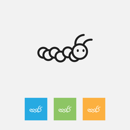 Vector Illustration Of Zoology Symbol On Caterpillar Outline