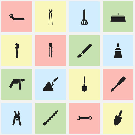 Set Of 16 Editable Apparatus Icons. Includes Symbols Such As Circle Spanner, Turn-Screw, Drill And More. Can Be Used For Web, Mobile, UI And Infographic Design. Illustration