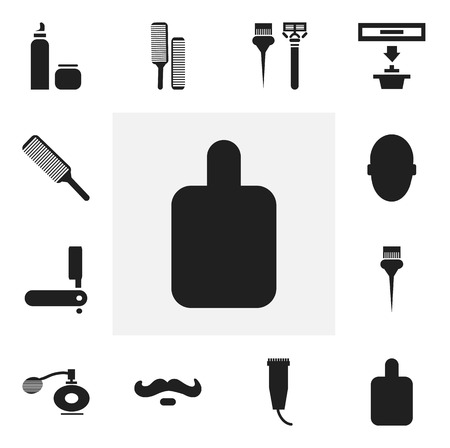 hair stylist: Set Of 12 Editable Coiffeur Icons. Includes Symbols Such As Electric Shaver, Painting Tools, Brains And More. Can Be Used For Web, Mobile, UI And Infographic Design. Illustration