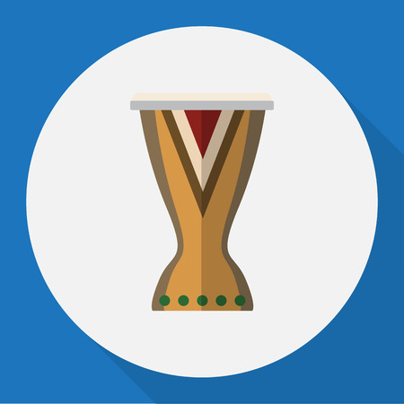 rhythm rhythmic: Vector Illustration Of Melody Symbol On Djembe Flat Icon. Premium Quality Isolated Portal Element In Trendy Flat Style.
