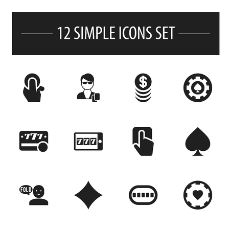 set of 12 editable business icons includes symbols such as raffle casino chip
