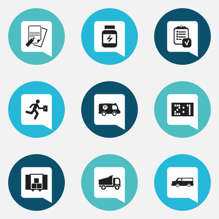 Set Of 9 Editable Complex Icons. Includes Symbols Such As Delivery, Police Vehicle, Result And More. Can Be Used For Web, Mobile, UI And Infographic Design.