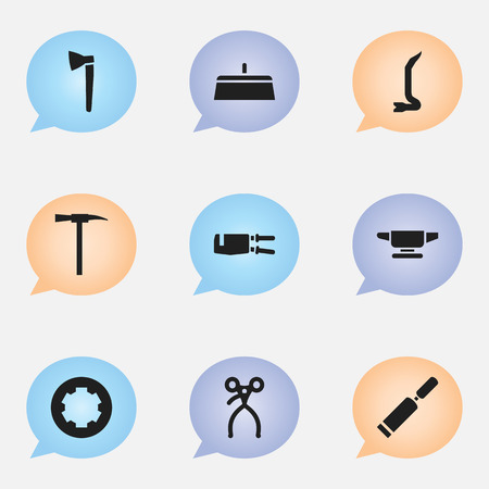 putty knife: Set Of 9 Editable Apparatus Icons. Includes Symbols Such As Putty Knife, Pickaxes, Retractor And More