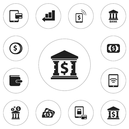 Set Of 12 Editable Banking Icons. Includes Symbols Such As Finance Protection, Currency, Freelance Income And More