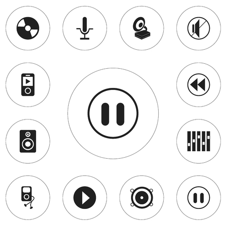 Set Of 12 Editable Melody Icons. Includes Symbols Such As Phonograph, Musical Gadget, Silent And More