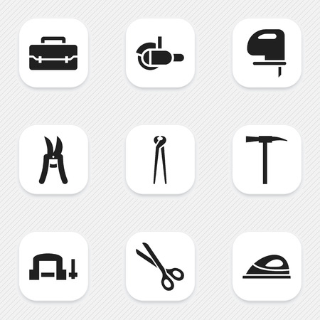 pruning shears: Set Of 9 Editable Equipment Icons. Includes Symbols Such As Pruning Shears, Mincing Machine, Pincers And More