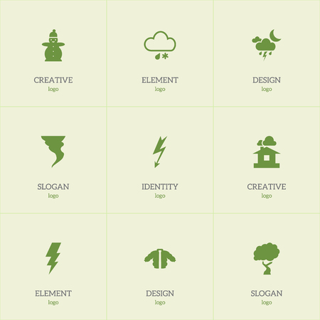 streak lightning: Set Of 9 Editable Climate Icons. Includes Symbols Such As Rainstorm, Flash, Current Shock And More Illustration