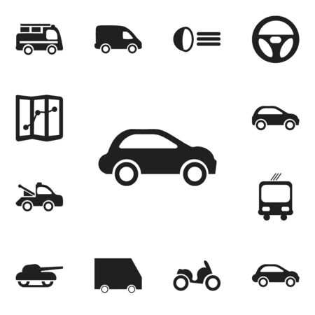luminary: Set Of 12 Editable Transport Icons. Includes Symbols Such As Moped, Luminary, Lorry And More Illustration