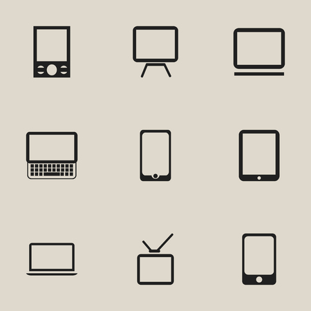 Set Of 9 Editable Devices Icons. Includes Symbols Such As Notebook, Telly, Clavier And More