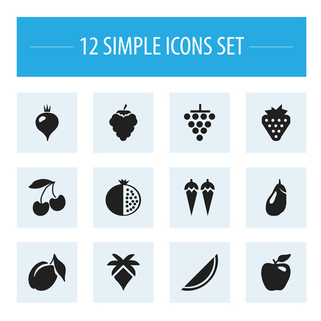 Set Of 12 Editable Berry Icons. Includes Symbols Such As Grape, Chili, Eggplant And More