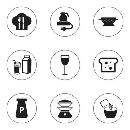 Set Of 9 Editable Cooking Icons. Includes Symbols Such As Baguette, Drainer, Lactose And More Illustration