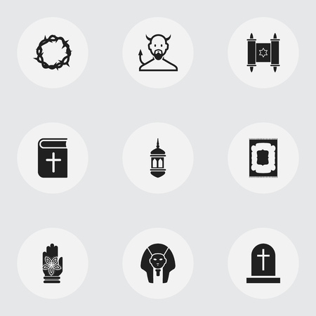persuasion: Set Of 9 Editable Dyne Icons. Includes Symbols Such As Satan, Christ Wreath, Minaret And More Illustration