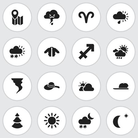 16 편집 가능한 날씨 아이콘의 집합입니다. 스노 그래뉼, 코트, 핀 등의 기호가 포함되어 있습니다.