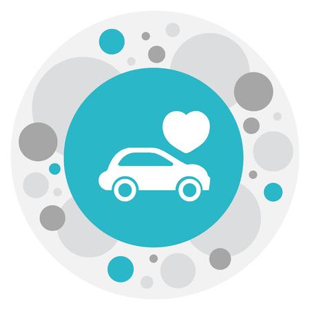 自動車のアイコンを愛のシンボルのベクトル イラスト