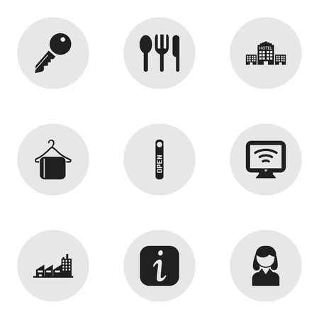 unblock: Set Of 9 Editable Travel Icons. Includes Symbols Such As Hanger, Unblock Access, Information Sign And More