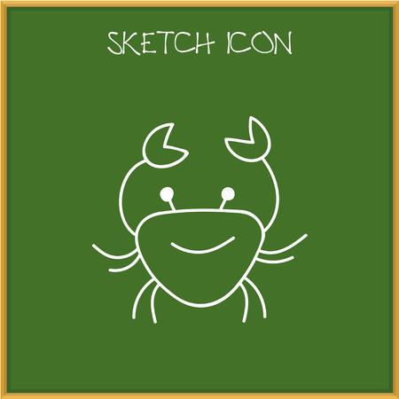 Vector Illustration Of Animal Symbol On Crab Doodle Illustration