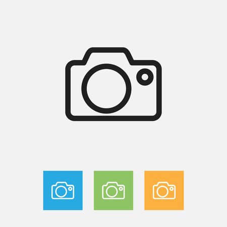 Vector Illustration Of Folks Symbol On Camera Outline