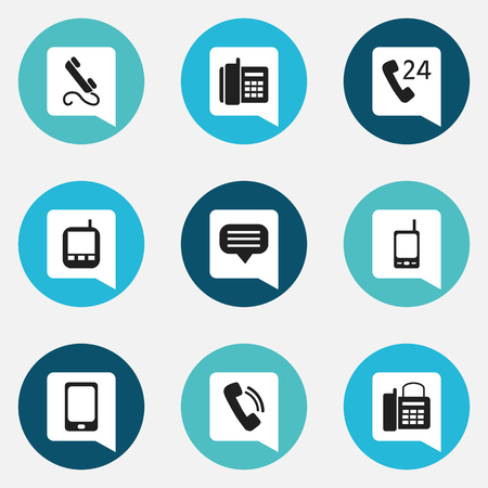 gps device: Set Of 9 Editable Phone Icons. Includes Symbols Such As Phone, Smartphone, Home Cellphone And More