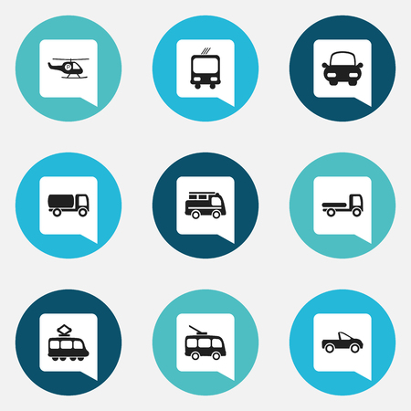 moving truck: Set Of 9 Editable Transportation Icons. Includes Symbols Such As Transportation, Tanker, Helicopter And More
