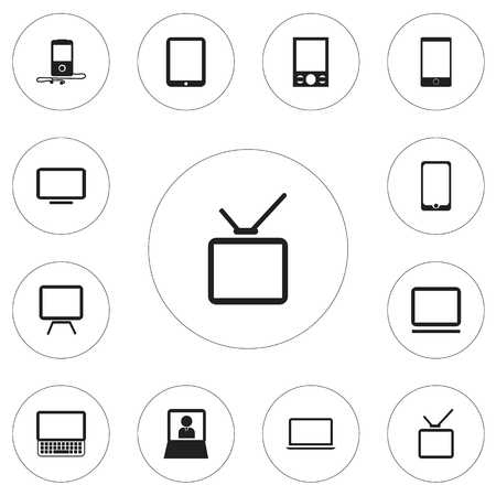 Set Of 12 Editable Gadget Icons. Includes Symbols Such As Telly, Notebook, Telephone And More