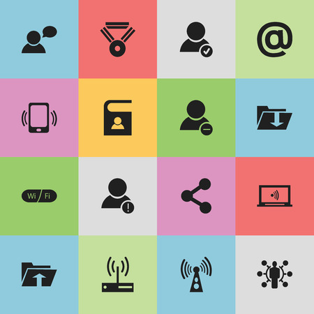 Set Of 16 Editable Global Icons. Includes Symbols Such As Wireless Transmission, Medal, Monitor And More 일러스트
