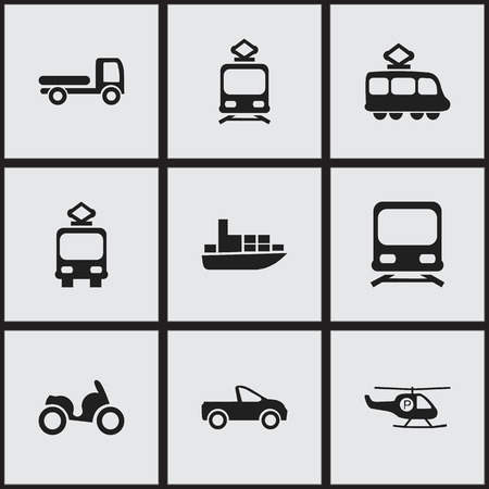 Set Of 9 Editable Transport Icons. Includes Symbols Such As Haulage, Tramcar, Streetcar And More Illustration
