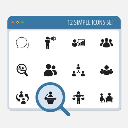 introducing: Set Of 12 Editable Team Icons. Includes Symbols Such As Staff Structure, Meeting, Conversation And More