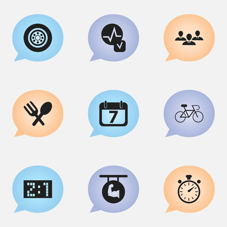 Set Of 9 Editable Complicated Icons. Includes Symbols Such As Heartbeat, Date Block, Cutlery And More Illustration